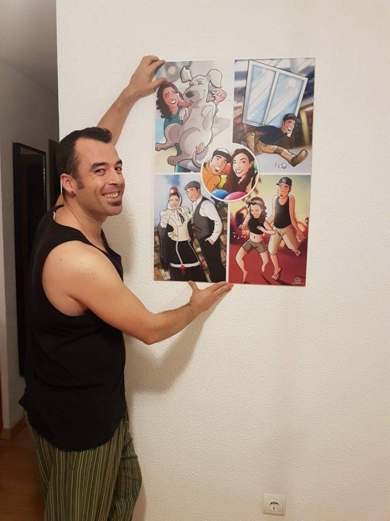"""Composición de ilustraciones """"Cosas que nos unieron"""" - Regalo romántico personalizado - regalos personalizados - www.tuvidaencomic.com - BEN - Caricaturas personalizadas - testimonio 3"""