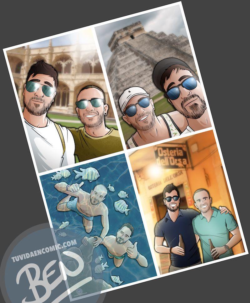 """Composición de ilustraciones """"Estos son nuestros recuerdos"""" - Regalo personalizado - www.tuvidaencomic.com - Caricaturas Personalizadas - BEN - 3"""