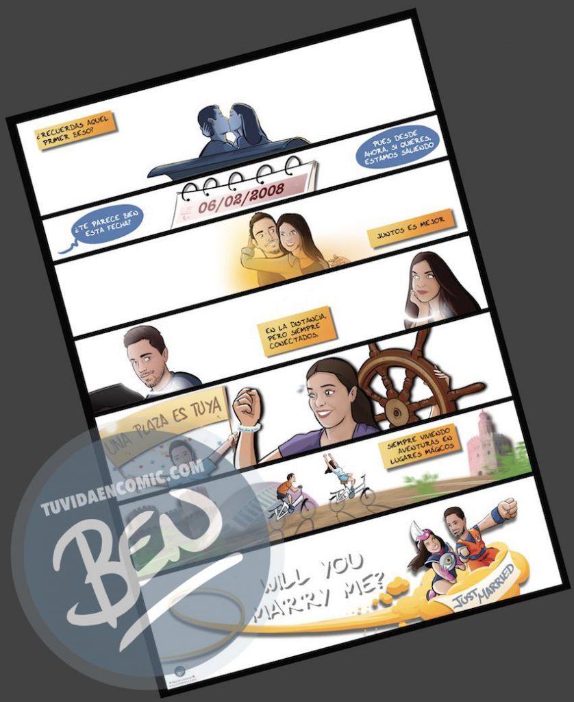"""Cómic personalizado - """"Regalo de boda con Nuestra historia de Amor en viñetas"""" - www.tuvidaencomic.com - Regalos personalizados - Bodas personalizadas - Bodas originales - Tu Vida en Cómic - a3"""