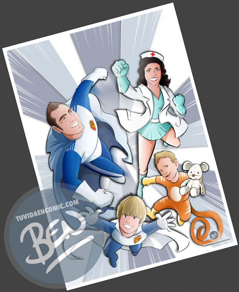 Ilustración - Regalo del día del Padre personalizado - Portada de cómic - www.tuvidaencomic.com - Regalos personalizados - Tu Vida en Cómic - BEN - 2