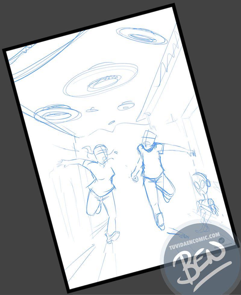 Ilustración Regalo personalizado - Mirando al cielo - OVNIS - Caricatura Personalizada - www.tuvidaencomic.com - Tu Vida en Cómic - BEN - Regalos originales - OVNIS - 1