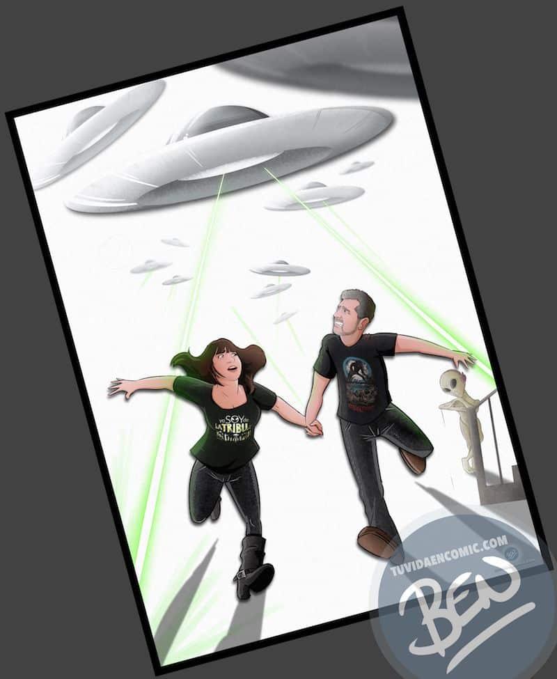 Ilustración Regalo personalizado - Mirando al cielo - OVNIS - Caricatura Personalizada - www.tuvidaencomic.com - Tu Vida en Cómic - BEN - Regalos originales - OVNIS - 3