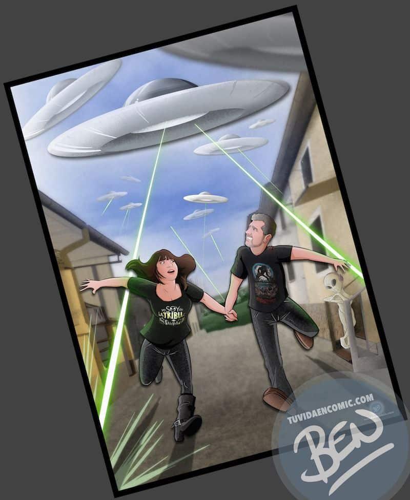 Ilustración Regalo personalizado - Mirando al cielo - OVNIS - Caricatura Personalizada - www.tuvidaencomic.com - Tu Vida en Cómic - BEN - Regalos originales - OVNIS - 4