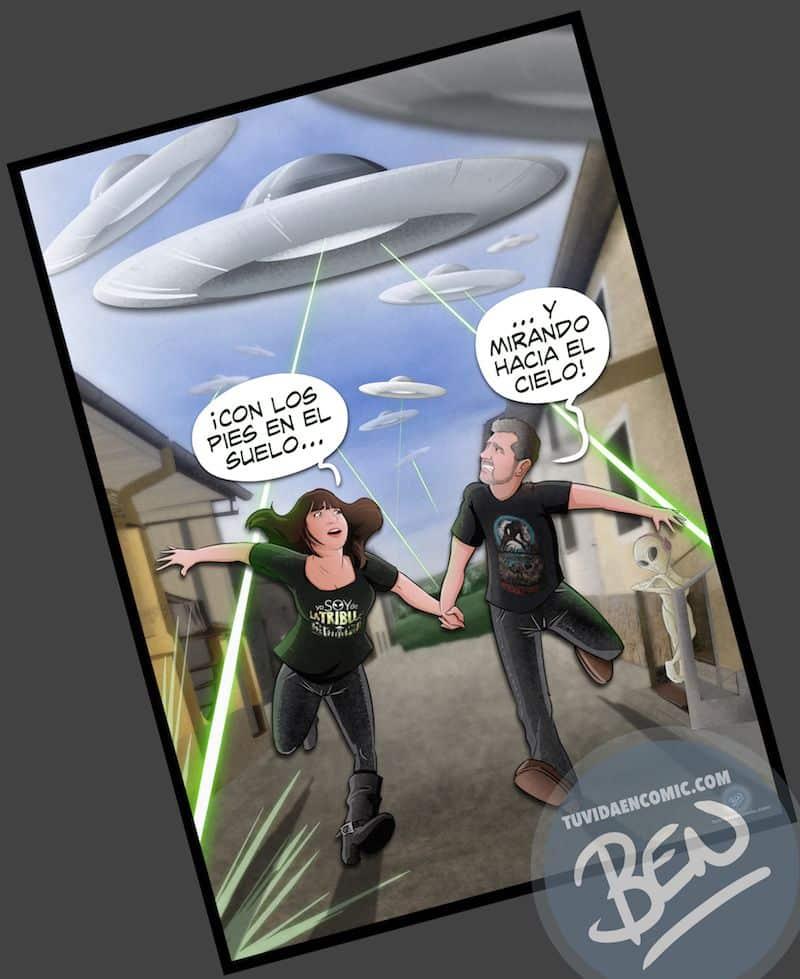 Ilustración Regalo personalizado - Mirando al cielo - OVNIS - Caricatura Personalizada - www.tuvidaencomic.com - Tu Vida en Cómic - BEN - Regalos originales - OVNIS - 5