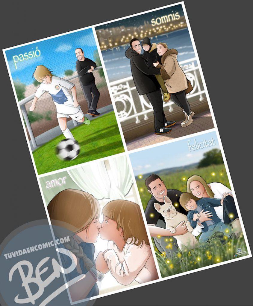 Regalo de cumpleaños personalizado - Ilustraciones de familia - www.tuvidaencomic.com - Tu Vida en Cómic - BEN - Regalos personalizados - Regalo del día del padre - Caricatura personalizada - Completa