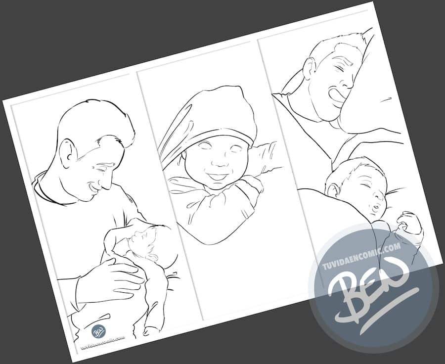 Regalo del día del Padre personalizado - Momentos de Padre e hijo - Composición de ilustraciones - www.tuvidaencomic.com - Tu Vida en Cómic - BEN - Caricaturas personalizadas - Regalos Personalizados - 1