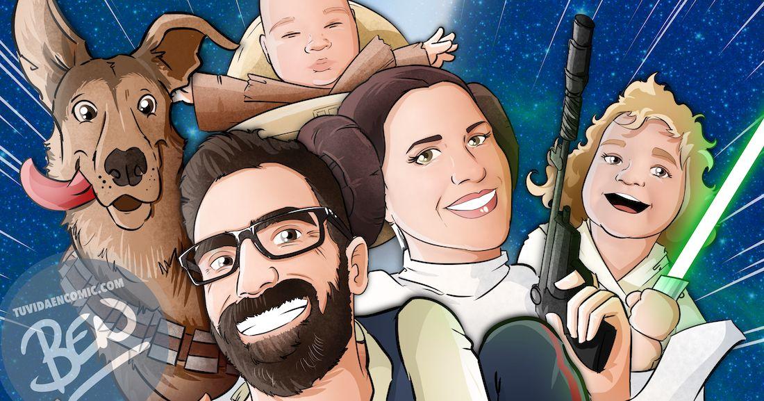 Caricatura Familia star wwars - tu vida en cómic - tuvidaencomic.com - Borja_Ben_ART - Regalo - ilustración _ 6