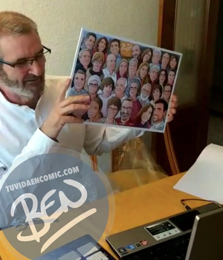 """Caricatura familiar - """"Que no falte nadie en nuestra foto de familia"""" - Ilustración grupal - www.tuvidaencomic.com - Tu Vida en Cómic - Borja_Ben_ART - BEN - Regalo personalizado - TESTIMONIO"""
