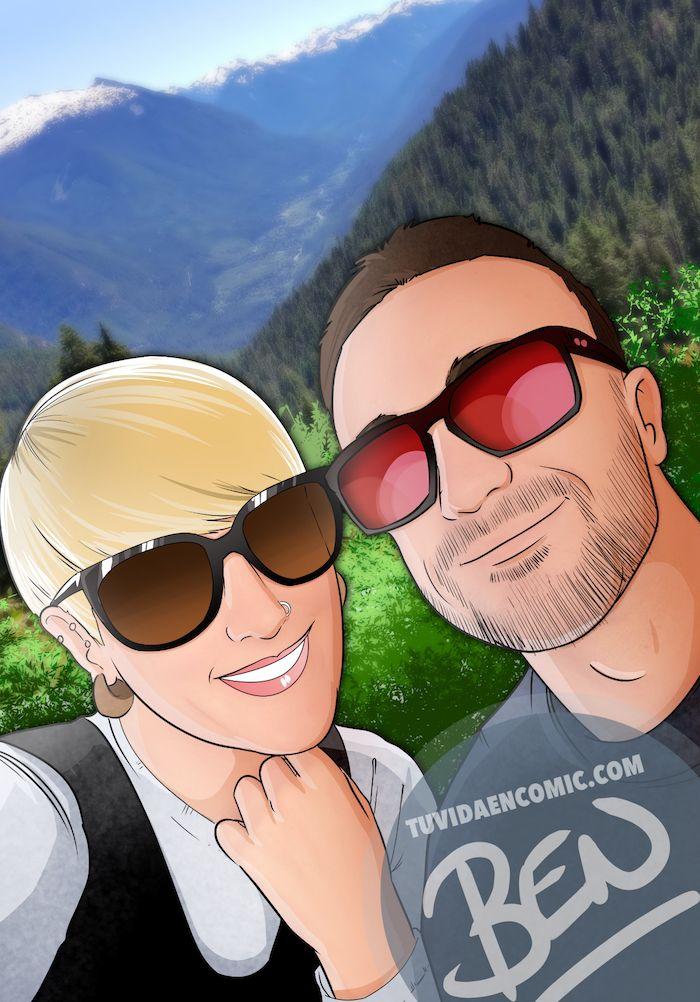 Composición de ilustraciones Viajando juntos – Regalo romántico personalizado - Tu Vida en Cómic - www.tuvidaencomic.com - Borja_Ben_ART - caricaturas personalizadas - 1