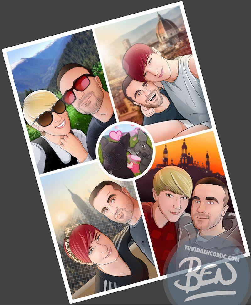 Composición de ilustraciones Viajando juntos – Regalo romántico personalizado - Tu Vida en Cómic - www.tuvidaencomic.com - Borja_Ben_ART - caricaturas personalizadas - completo