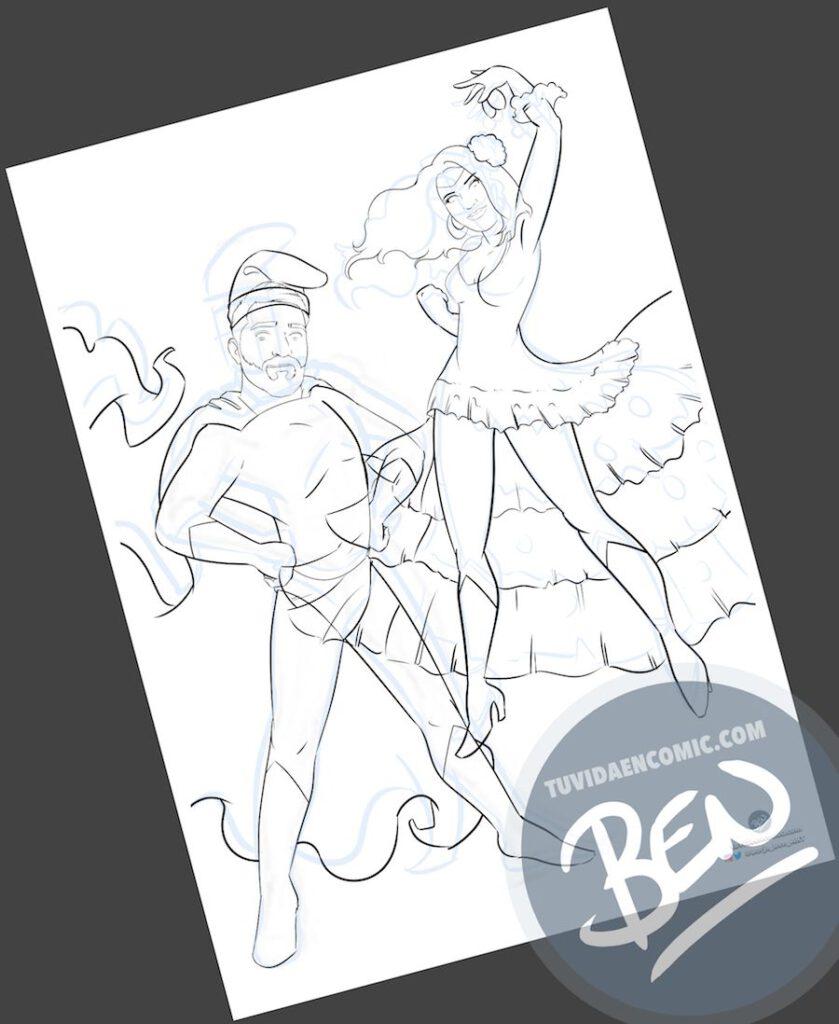 """Ilustración Regalo personalizado – """"Super pareja de barretina y castañuela"""" – Caricatura Personalizada - regalo de cumpleaños personalizado - Tu Vida en Cómic - www.tuvidaencomic.com - Borja_Ben_ART - 2"""
