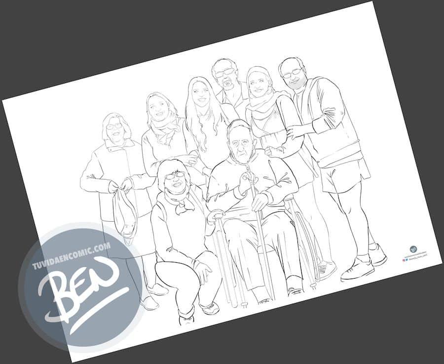 Ilustración de familia - Todos con el abuelo - Caricatura familiar - Regalo personalizado - Tu Vida en Cómic - tuvidaencomic.com - 1