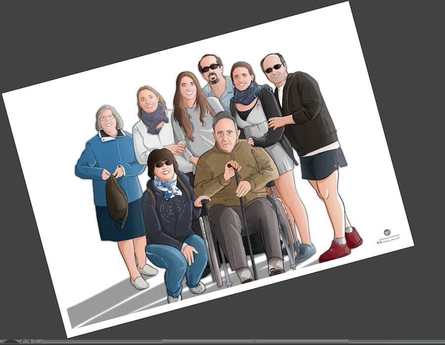 Ilustración de familia - Todos con el abuelo - Caricatura familiar - Regalo personalizado - Tu Vida en Cómic - tuvidaencomic.com - 3