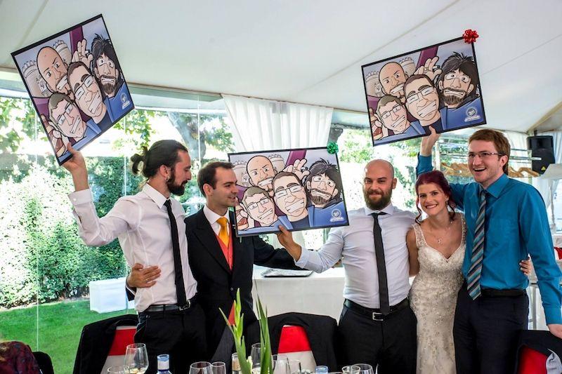 Testimonio - Regalo de boda personalizado y original - Cariatura de grupo