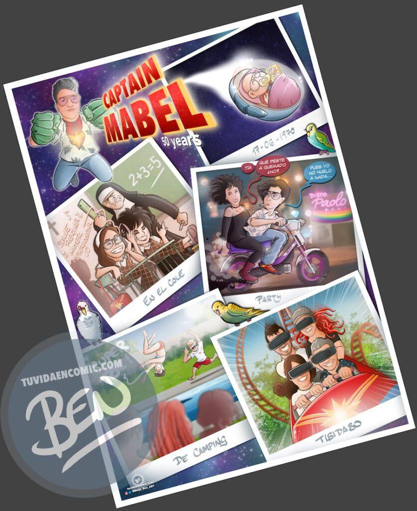 """Cómic personalizado - """"Captain Mabel"""" - Regalo de cumpleaños personalizado - www.tuvidaencomic.com - Caricaturas - Borja_Ben_ART - Impreso"""