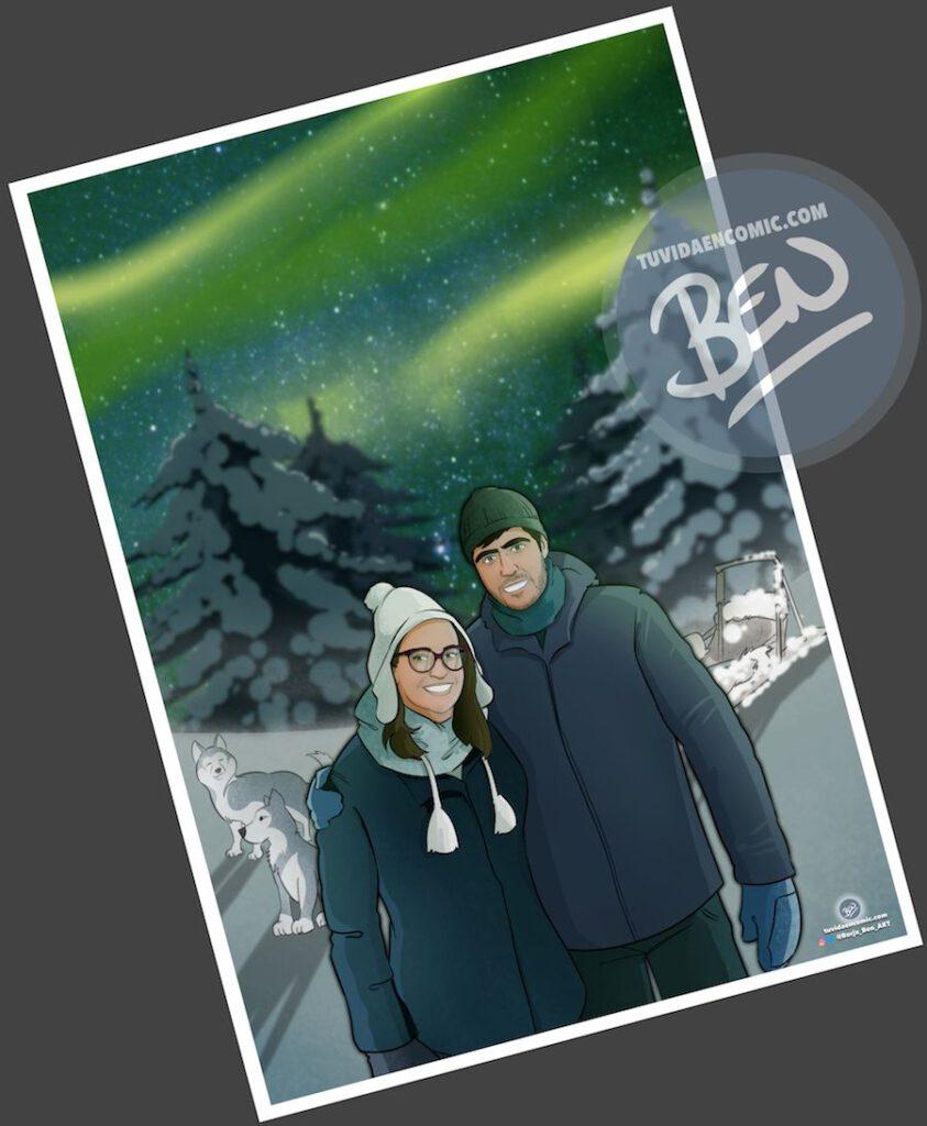 """Composición de ilustraciones """"Así comenzó nuestra vida juntos"""" – Regalo de aniversario personalizado - Tu Vida en Cómic - www.tuvidaencomic.com - Caricaturas personalizadas . Cómics Personalizados - 4"""