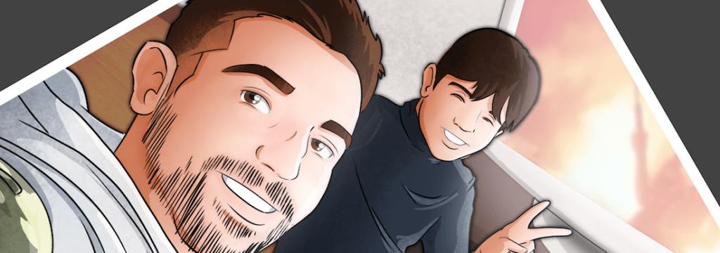 """Composición-de-ilustraciones-""""Escenas-de-padre-e-hijo""""-–-Regalo-de-cumpleaños-Regalo-del-día-del-Padre-Tu-Vida-en-Cómic-Caricaturas-Personalizadas-0"""