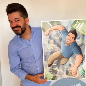 """Ilustración Regalo de cumpleaños personalizado – """"Super Gestor"""" - Caricatura Personalizada - tuvidaencomic.com - Tu Vida en Cómic - Borja_Ben_ART - Testimonio 2"""