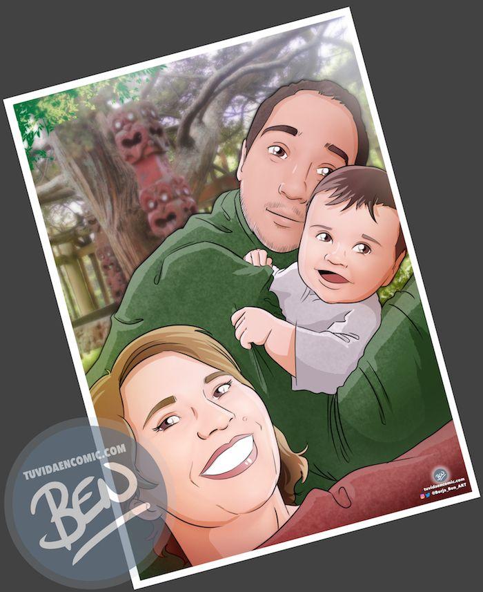 """Composición de ilustraciones """"Escenas de familia"""" – Regalo de cumpleaños personalizado – regalo del día del Padre personalizado - www.tuvidaencomic.com - Tu Vida en Cómic - 2"""