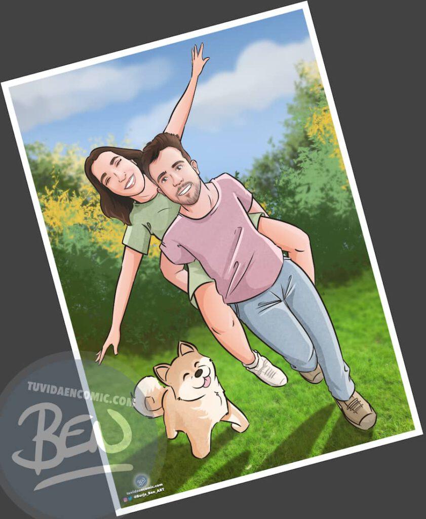 """Ilustración Regalo de cumpleaños personalizado – """"corriendo por el parque"""" - Caricatura Personalizada - 2"""
