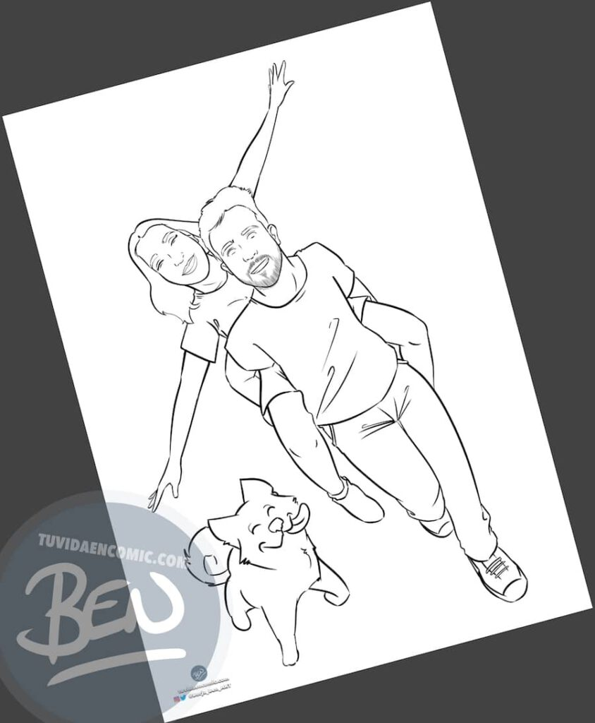 """Ilustración Regalo de cumpleaños personalizado – """"corriendo por el parque"""" - Caricatura Personalizada - 4"""