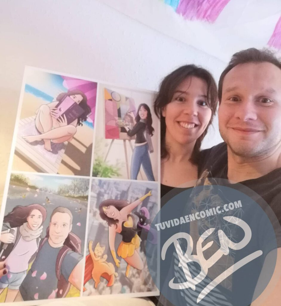 """Composición de ilustraciones """"Con estos ojos veo a mi pareja"""" – Regalo de cumpleaños romántico - www.tuvidaencomic.com - Borja_Ben_ART - Regalos románticos - Testimonio 2"""