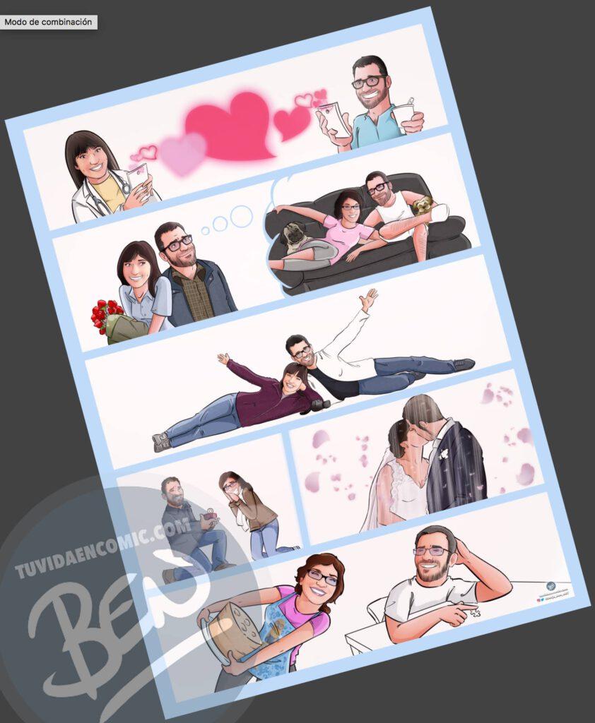 """Cómic Personalizado – """"Nuestra vida juntos, viajes, confinamiento y mucho huchinni"""" – Regalo de aniversario original y romántico - tuvidaencomic.com - 3"""