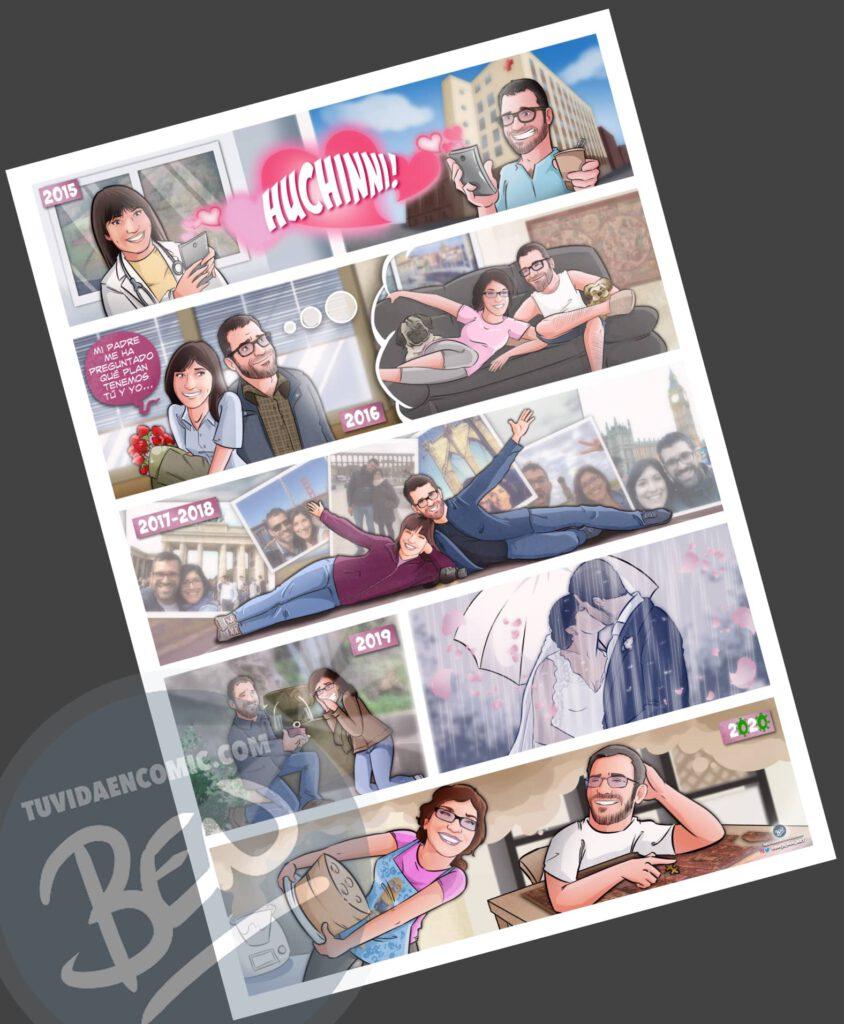 """Cómic Personalizado – """"Nuestra vida juntos, viajes, confinamiento y mucho huchinni"""" – Regalo de aniversario original y romántico - tuvidaencomic.com - 4"""