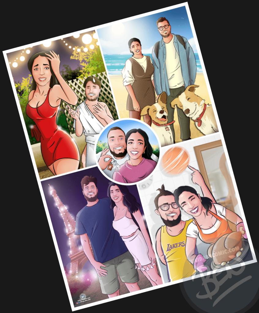 """Composición de ilustraciones – """"Las cosas que nos hicieron pareja"""" – Regalo de aniversario original y personalizado - tuvidaencomic.com - caricatura personalizada - 3"""