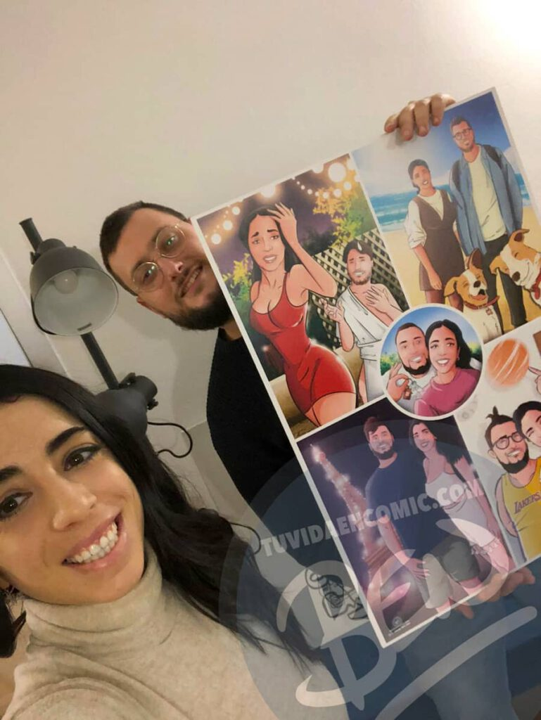 """Composición de ilustraciones – """"Las cosas que nos hicieron pareja"""" – Regalo de aniversario original y personalizado - tuvidaencomic.com - caricatura personalizada - TESTIMONIO 2"""
