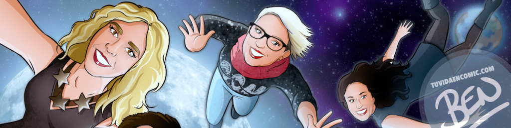"""Ilustración Regalo grupal personalizado y original – """"Nos vemos en la luna"""" – Caricatura personalizada grupal - tuvidaencomic.com - 01"""