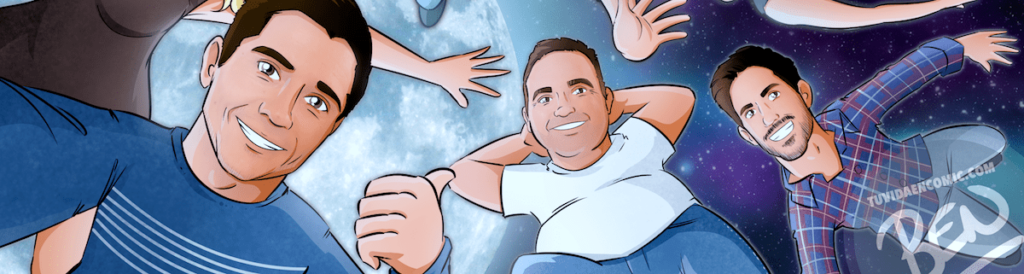 """Ilustración Regalo grupal personalizado y original – """"Nos vemos en la luna"""" – Caricatura personalizada grupal - tuvidaencomic.com - 02"""