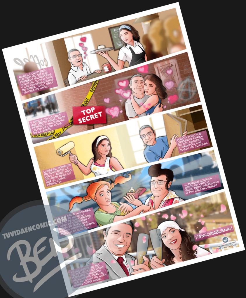 """Cómic Personalizado – """"Un café que terminó en boda"""" – Regalo de Boda original y personalizado - www.tuvidaencomic.com - 5"""