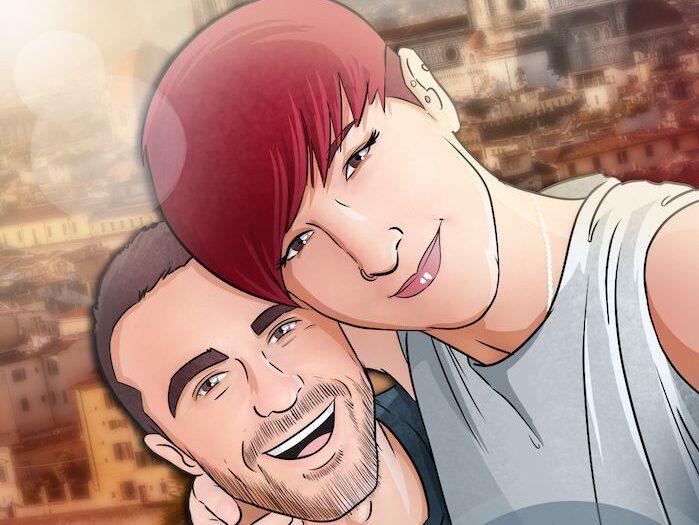 Composición de ilustraciones Viajando juntos – Regalo romántico personalizado - Tu Vida en Cómic - www.tuvidaencomic.com - Borja_Ben_ART - caricaturas personalizadas - 2