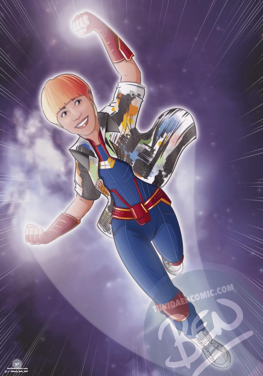 """Ilustración personalizada – """"Soy toda una Superheroína"""" – Caricatura personalizada – Caricatura de superhéroes - www.tuvidaencomic.com - 7"""