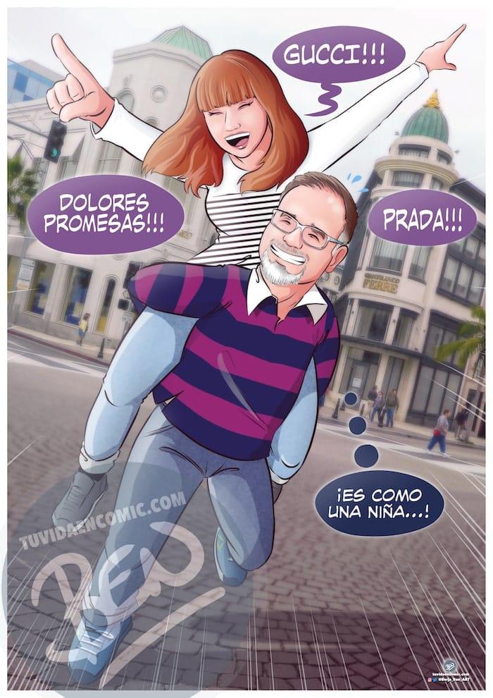 Composición de Ilustraciones - viajes, marcas caras y meigas gallegas - Caricaturas - Regalo de aniversario original - www.tuvidaencomic.com - Borja_Ben_ART - 4