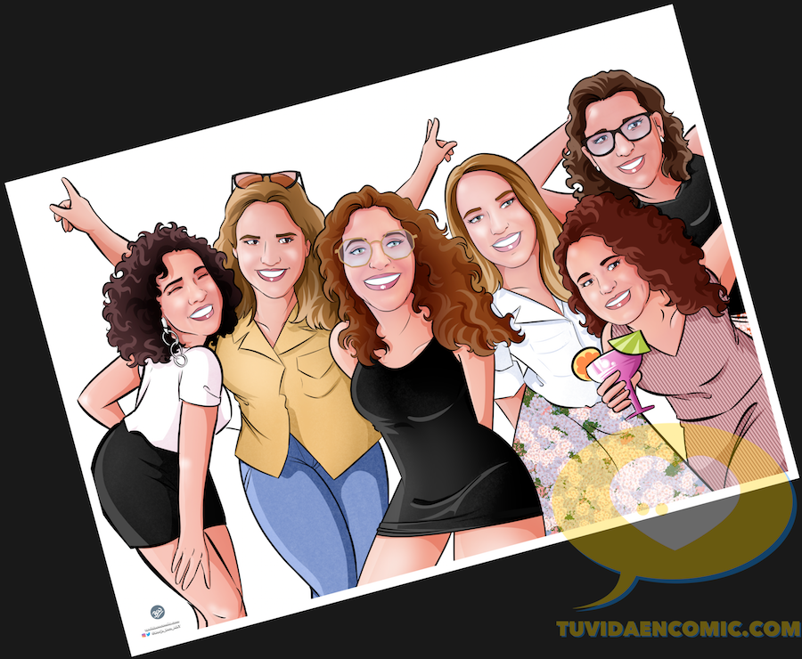 Ilustración de grupo - Regalo para las mejores amigas - Caricatura de grupo de amigas - www.tuvidaencomic.com - regalos personalizados - regalo de boda original - 3