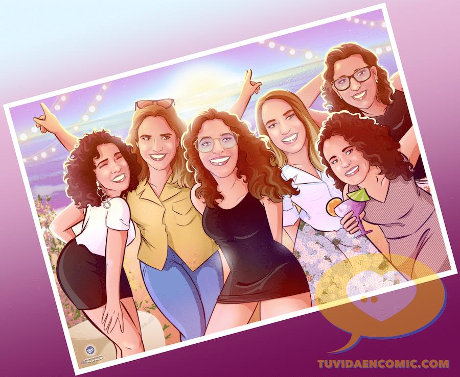 Ilustración de grupo - Regalo para las mejores amigas - Caricatura de grupo de amigas - www.tuvidaencomic.com - regalos personalizados - regalo de boda original - 5