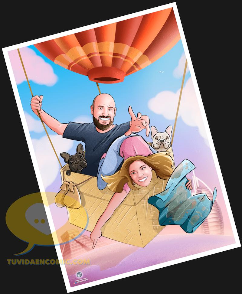 Viajando juntos por el mundo - Regalos personalizados - caricatura personalizada - ilustración personalizada - tuvidaencomic.com - Ilustración 4-min