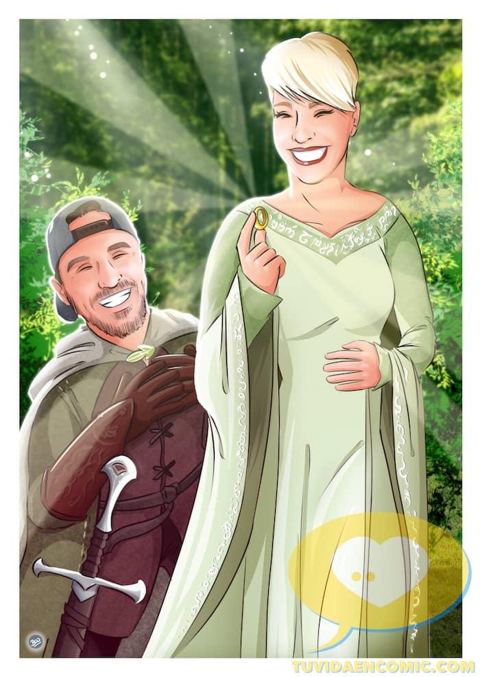 Lámina de Ilustraciones personalizadas - Mi tesorooooo - Regalo de boda original - www.tuvidaencomic.com - Regalo para los novios - 1