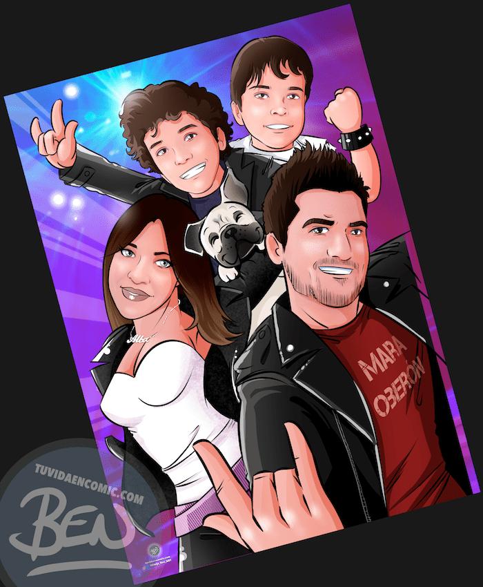 Ilustración de familia -caricatura familiar - familia rockera - regalo de cumpleaños original heavy metal personalizado - www.tuvidaencomic.com - 5-min